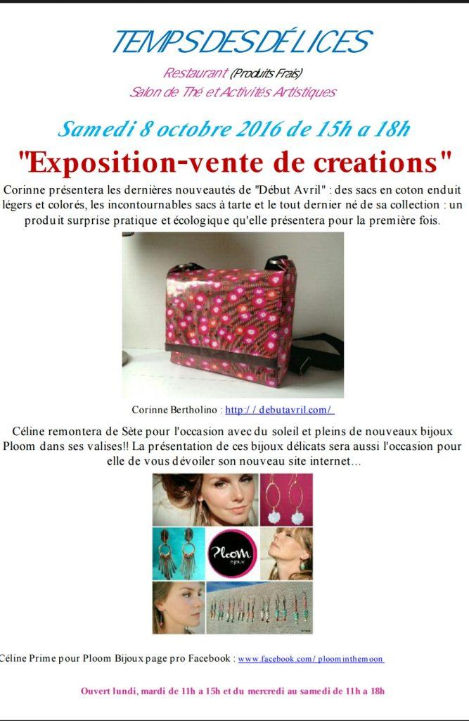 Expo-vente createurs PloomBijoux et DebutAvril aux Temps des delices Villejuif