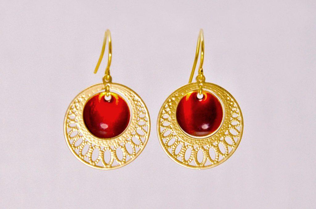 ploombijoux boucles d'oreilles createur dorées orientales lumineuses rouges Mini Orient