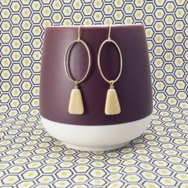boucles d'oreilles créateur fantaisie dorées minimaliste graphique perle en verre Ploom Bijoux