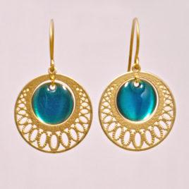 ploombijoux boucles d'oreilles dorées orientales lumineuses bleues Mini Orient