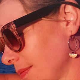 ploombijoux boucles d'oreilles originales dorées graphiques design Luna