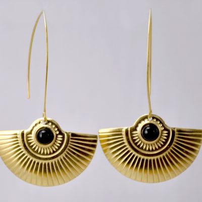 ploombijoux boucles d'oreilles originales de créateur longues dorées Art Deco Cleopatra noires