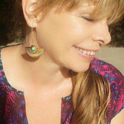 ploombijoux boucles d'oreilles originales longues dorées Art Deco Cleopatra turquoises
