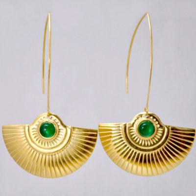 ploombijoux boucles d'oreilles originales longues dorées Art Deco Cleopatra verte