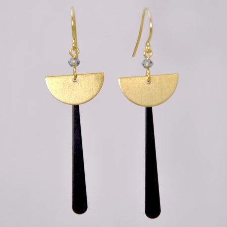 ploombijoux boucles d'oreilles createur originales longues dorées noires Art Deco Equilibre
