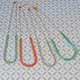 Ploom Bijoux createur colliers épis courts délicats doré or fin colorés