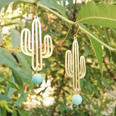 Boucles doreilles Ploom Bijoux createur original cactus perle amazonite