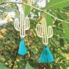 Boucles doreilles Ploom Bijoux createur cactus pompon bleu canard delicat coloré doré