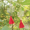 Boucles doreilles Ploom Bijoux createur cactus pompon fushia delicat coloré argenté