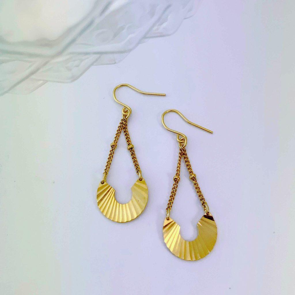 Boucles oreilles Elo ploom bijoux retro art deco qualite originales dorées or fin