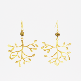 Ploom Bijoux Boucles Olivia branches fines raffinées créateur francais dorées or fin chic