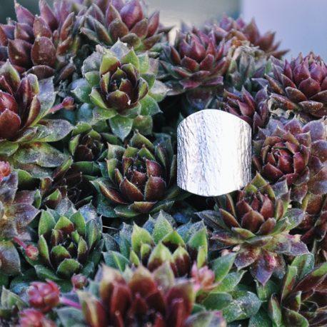 bague large plaqué argent écorce resistante ploom bijoux créateur
