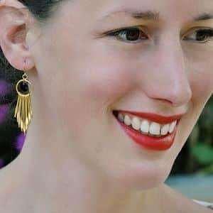 Boucles d'oreilles indian franges tiges dorées originales ploom bijoux créateur francais