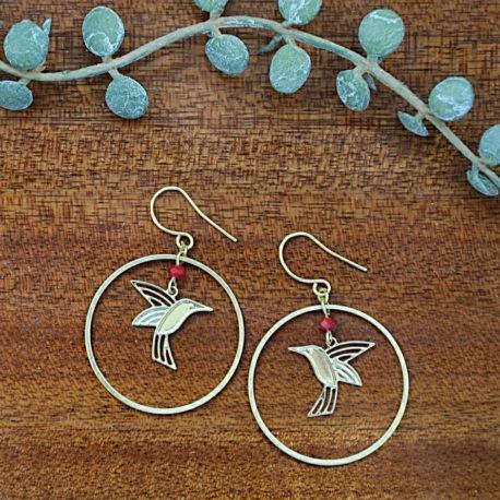 boucles colibris dorées or fin qualité originale ploom bijoux createur