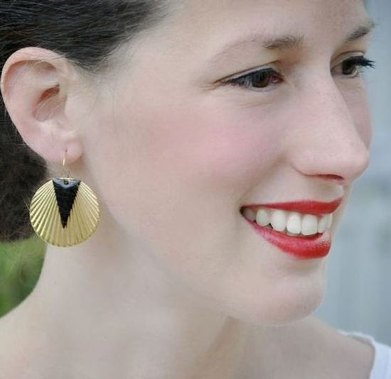 boucles d'oreilles Stardust art déco rondes noires ploom bijoux