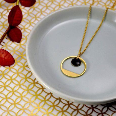 collier minimaliste chic dore or fin ploom bijoux original