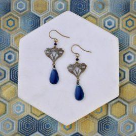 Boucles d'oreilles Arabesque art déco originales fine pendantes ploom bijoux createur francais