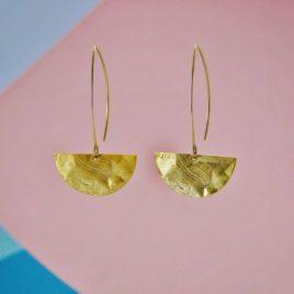 boucles d'oreilles ploom bijoux graphiques aeriennes dorées martelees vague japon epurées