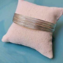 bracelet multi joncs fin plaqué argent strass ploom bijoux createur francais