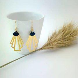 boucles d'oreilles rétro dorées origami art déco ploom bijoux originales créateur