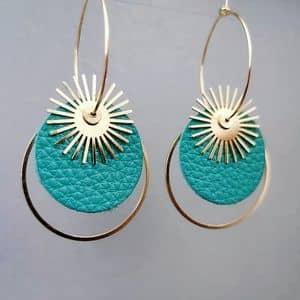 boucles d'oreilles longues Sun Créoles originales doré à l'or fin ploom bijoux original créateur