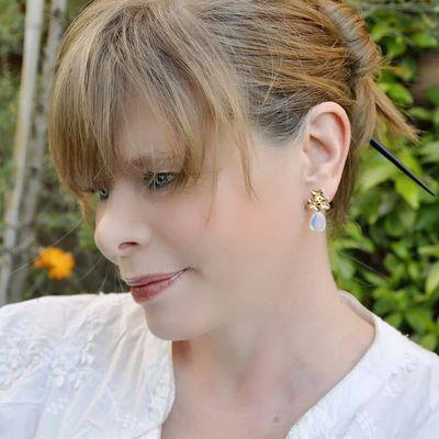 boucles d'oreilles opale verre fleurs chic courtes femme ploom bijoux créateur originales