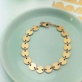 bracelet doré or fin original chic pastilles rondes ploom bijoux créateur resistant