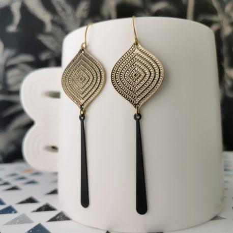 Boucles d'oreilles Casablanca longue art déco Ethnic originale createur ploom bijoux